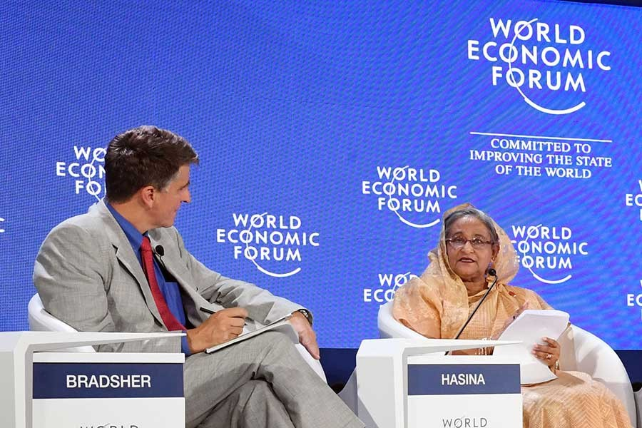 BD LIKELY TO BECOME 25TH LARGEST ECONOMY IN 10 YEARS; PM SAYS AT WEF ANNUAL MEETING IN CHINA